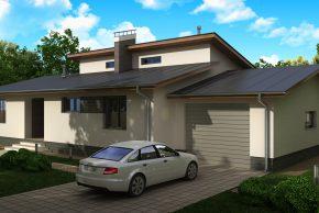 Готовый проект одноэтажного дома с гаражом на одну машину