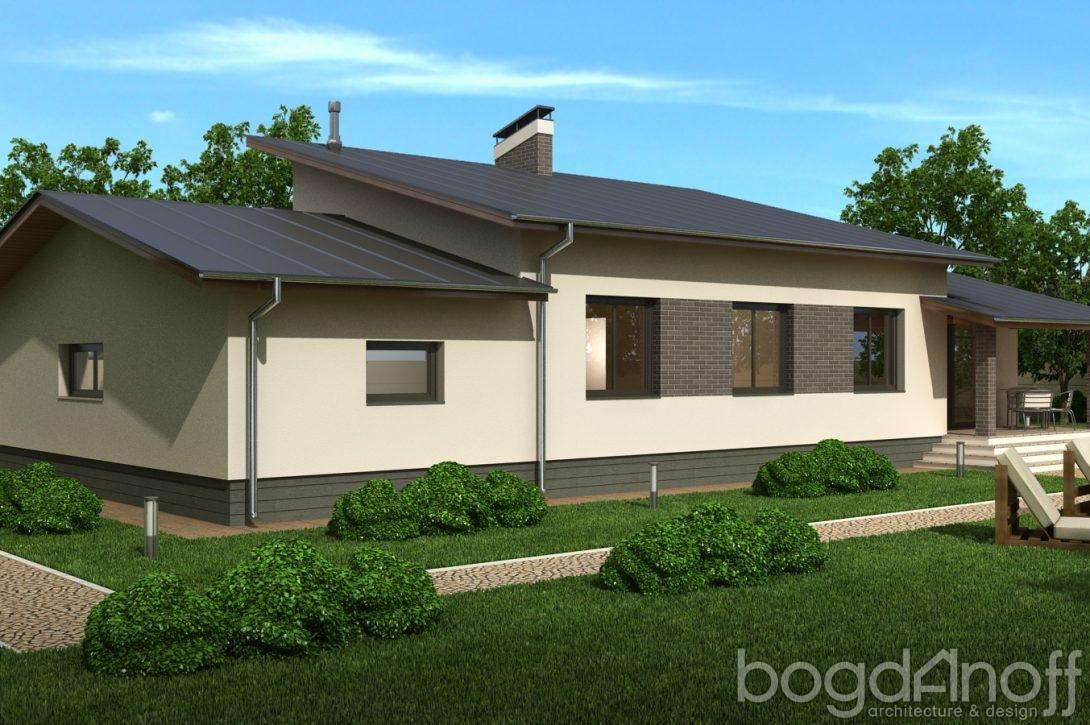 Готовый проект одноэтажного дома с гаражом на одну машину для 4 человек