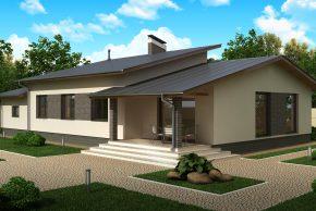 проект одноэтажного дома с гаражом на одну машину