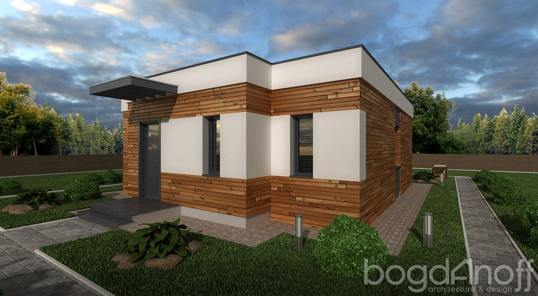 Проект дома с плоской кровлей в современном стиле фото