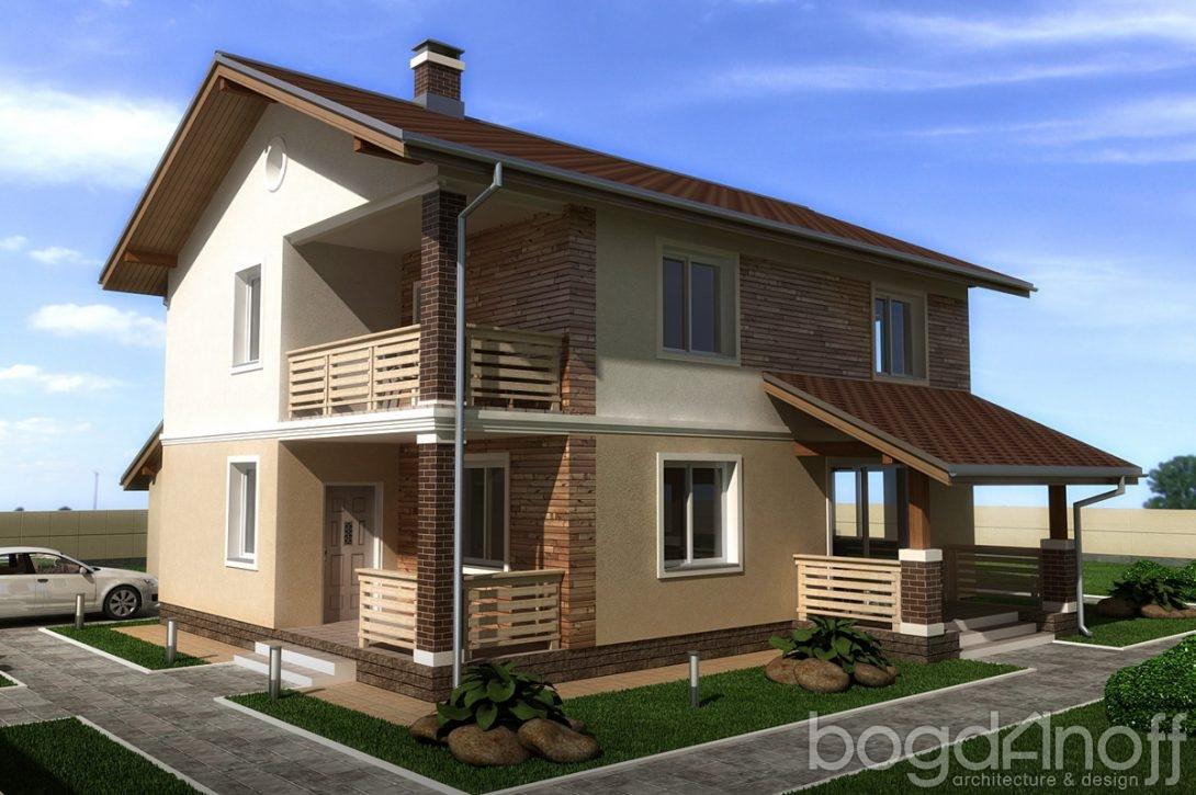 Дом в два этажа с гаражом и балконом