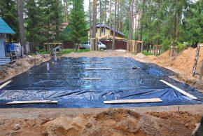 Фундамент дома из геотекстиля монолитная плита