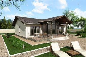 Проект домика с красивой террасой
