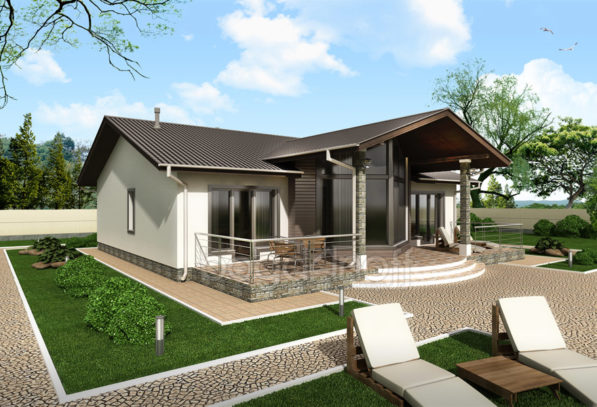 Проект одноэтажного дома без гаража фото
