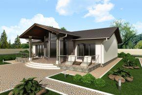 Проект дома с террасой и большими окнами