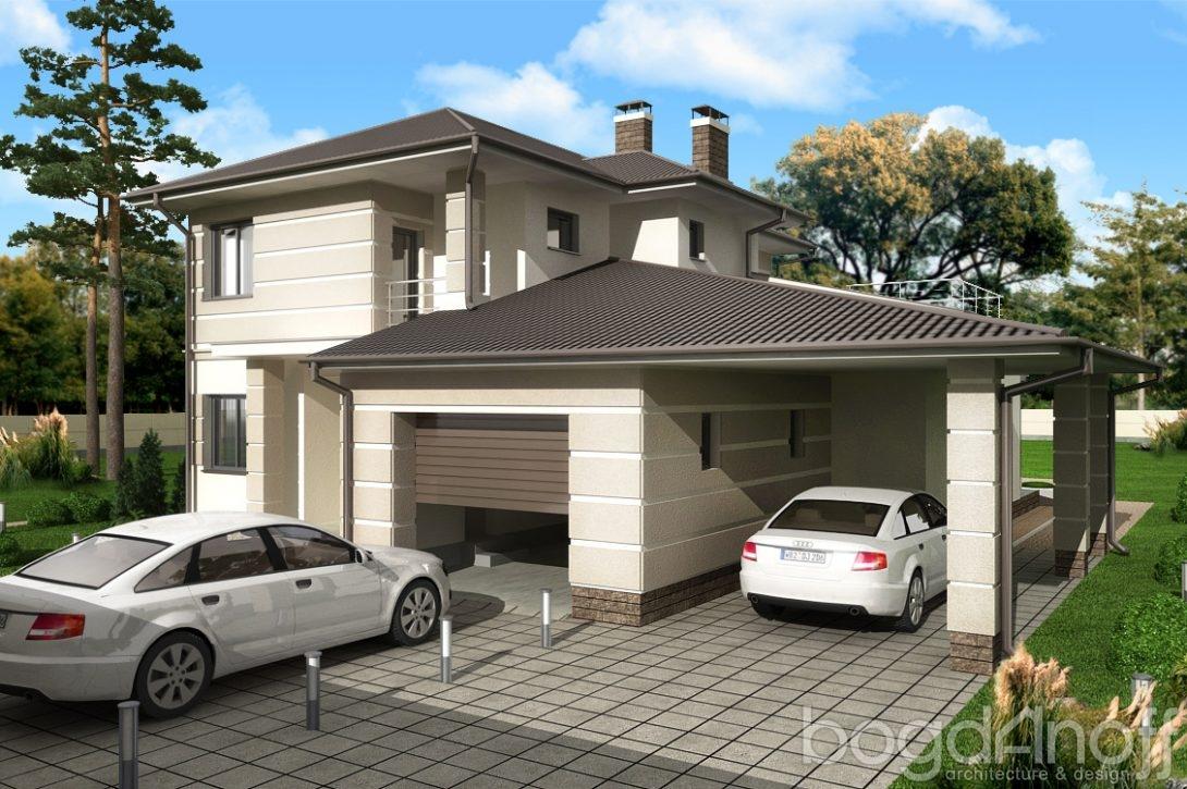 двухэтажные дома фото с гаражом и навесом американского