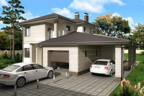 Двухэтажный дом с навесом