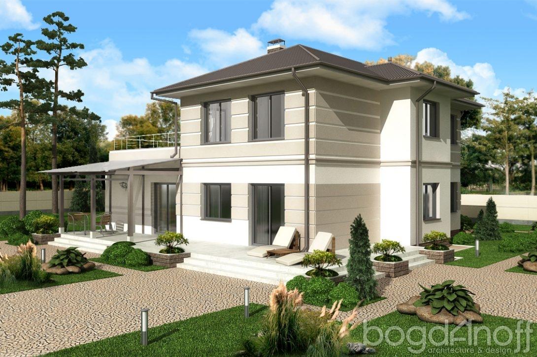 Дом с навесом и террасой