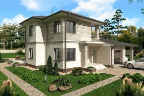Жилой дом с гаражом и навесом