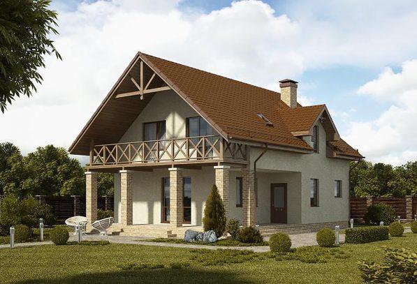 Дом с балконом и колоннами