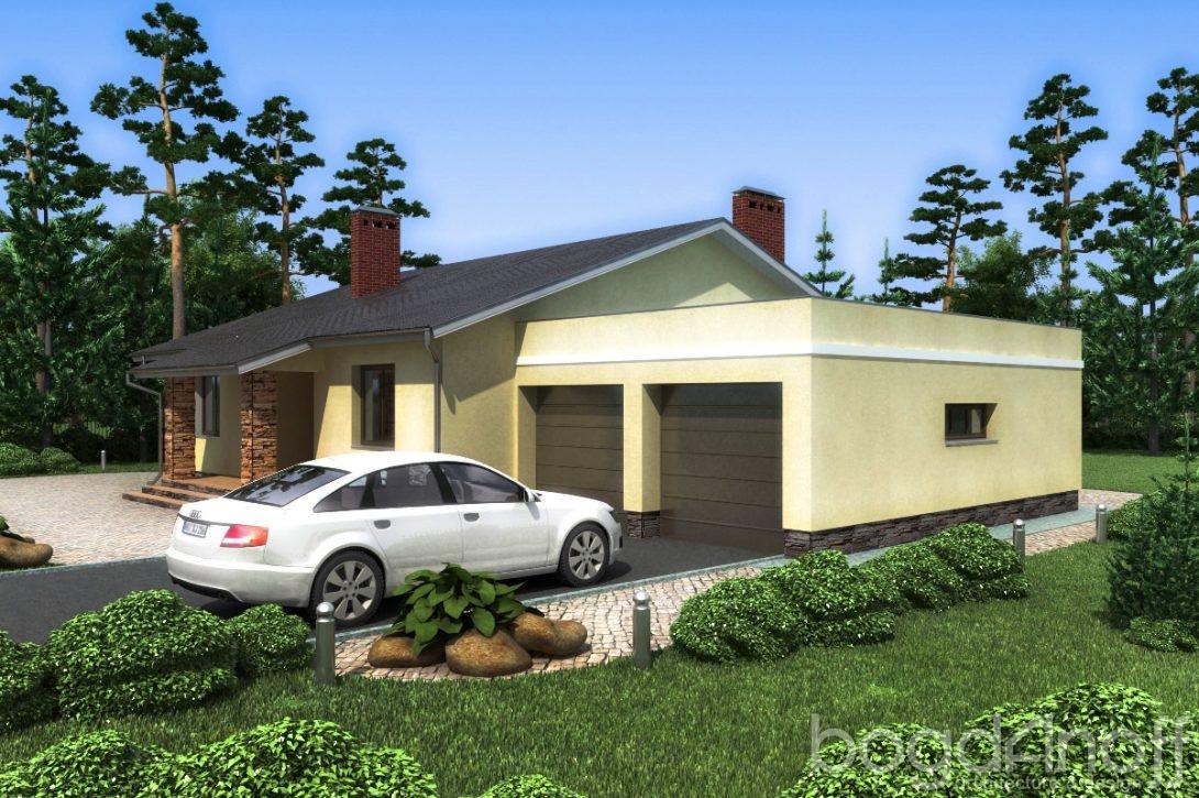 Одноэтажный с гаражом на два авто