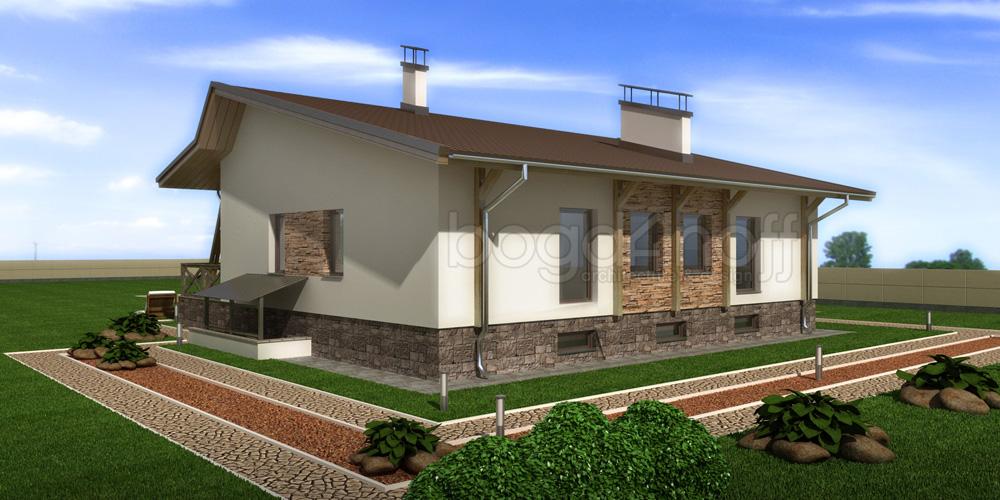 Проект необычного одноэтажного дома фото