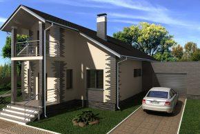Проект дома с гаражом на 2 машины фото