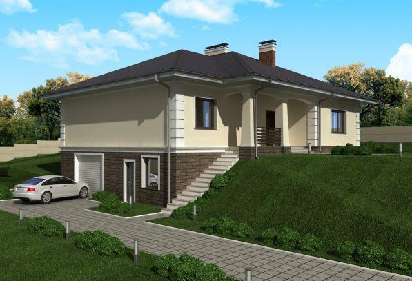 Проект дома на горе с гаражом