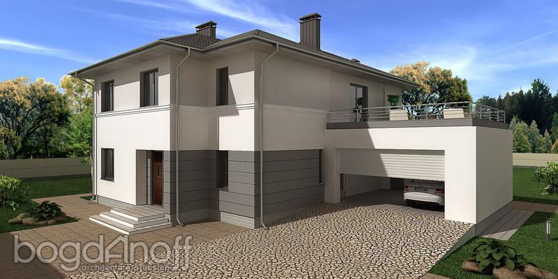 Проект двухэтажного дома с камином фото