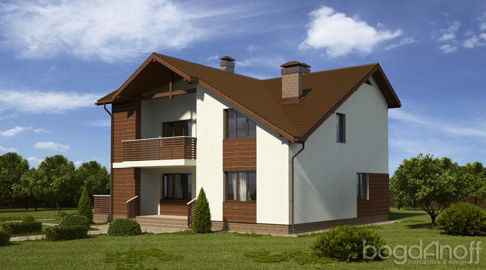 Готовый проект мансардного дома П3-91 2