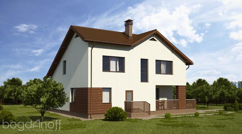 Готовый проект мансардного дома П3-91 3