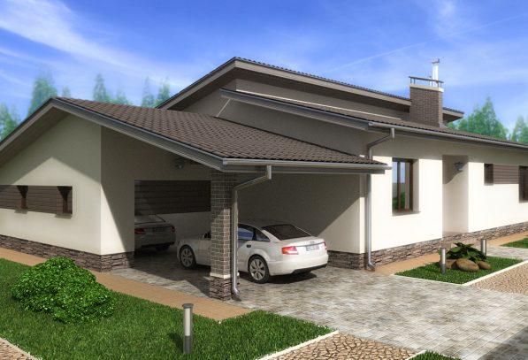 Проект дома с камином и гаражом