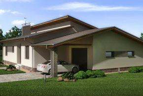 Дом с гаражом и навесом