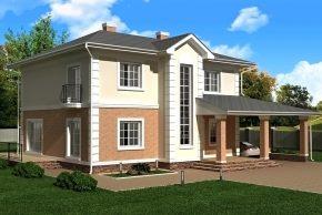 Дом в классике с навесом