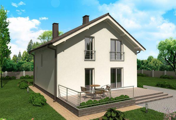 Проект фасада двухэтажного дома с простой отделкой