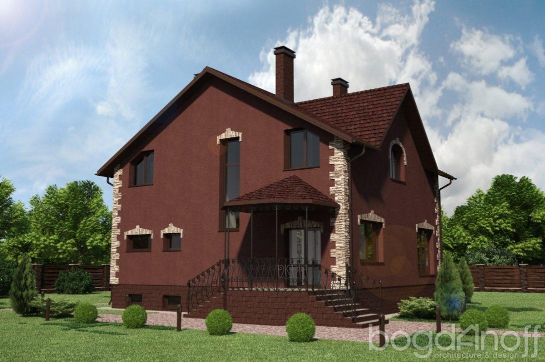 Проект двухэтажного дома в темном стиле