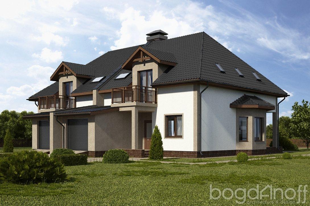 Двухквартирный проект дома с гаражами фото
