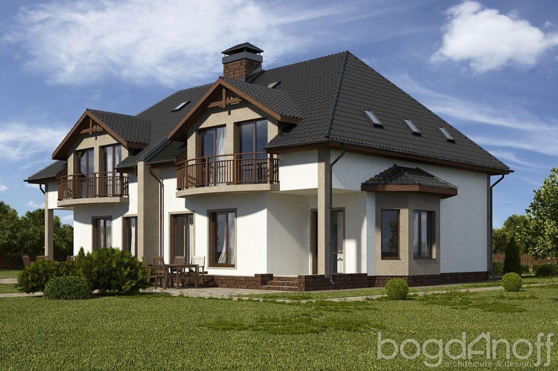 Двухквартирный проект дома с гаражами