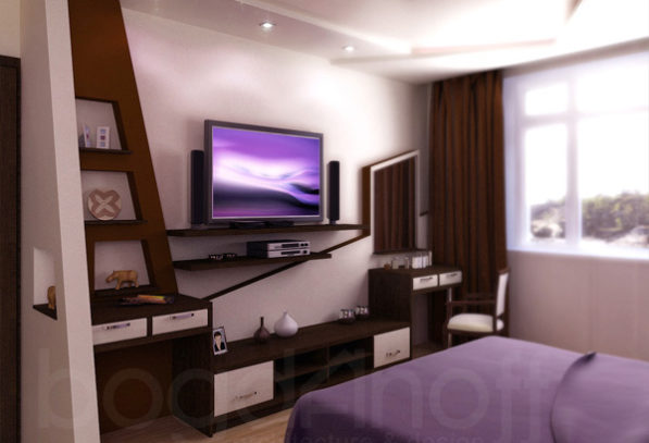 интерьер спальни фиолетовый