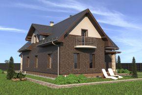 Облицованный дом с балконом