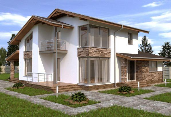 Красивый дом с балконом