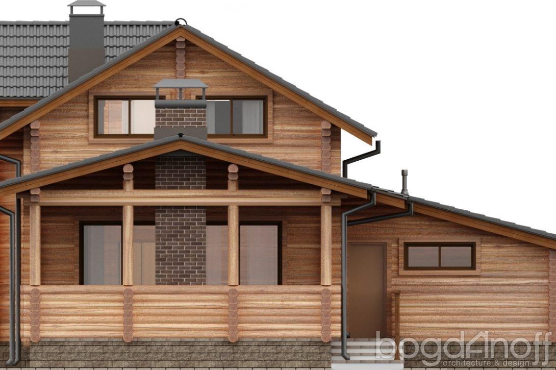 Фасад дома из бревна