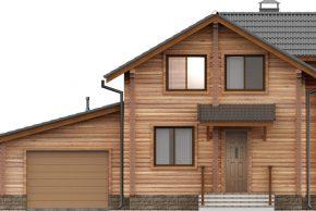 Фасад брусового дома