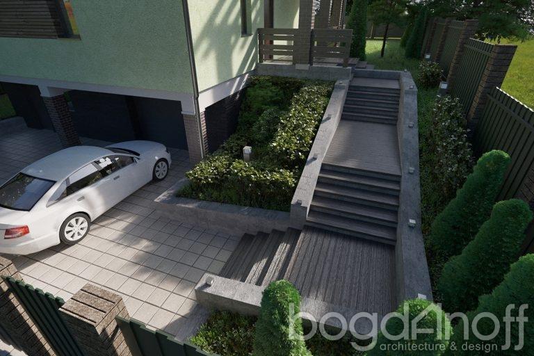 Лестница к дому бетонная