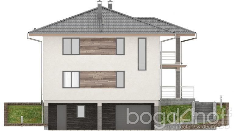 Фасад дома с гаражом