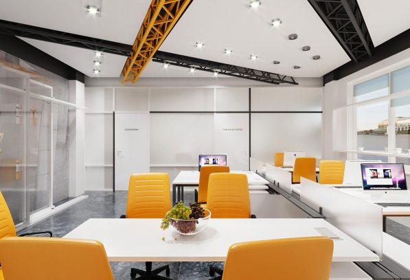 офис оранжево черный