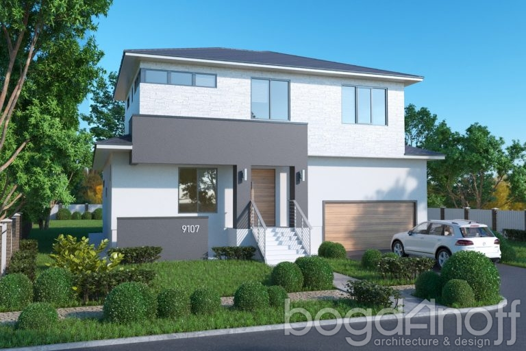 Проект двухэтажного дома с гаражом и террасой фото