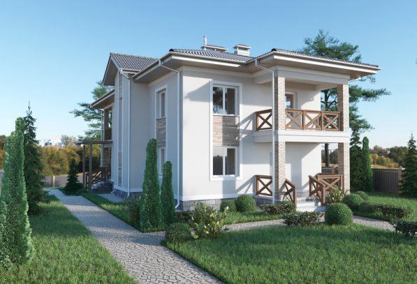 Двухэтажный дом с цоколем