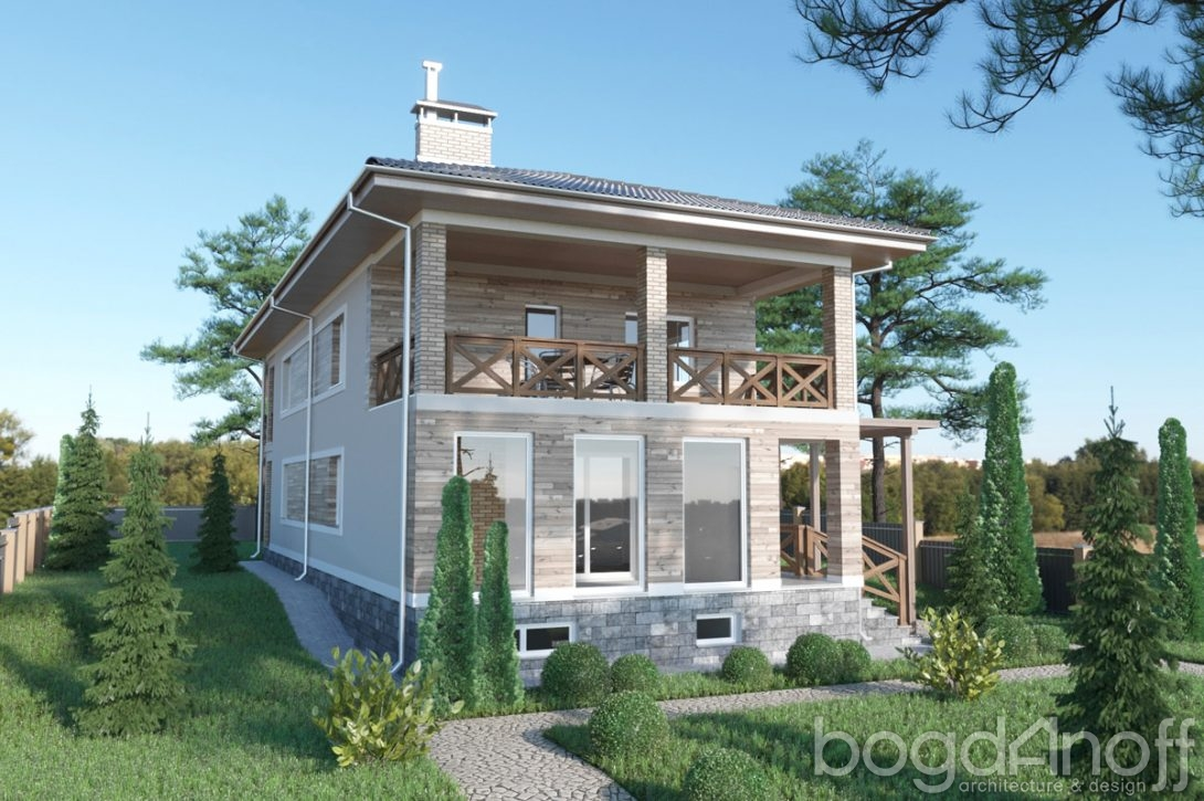 Двухэтажный дом с крытой террасой