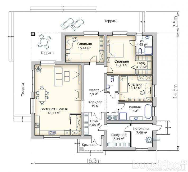 Планировка удобного проекта дома в 1 этаж Минск
