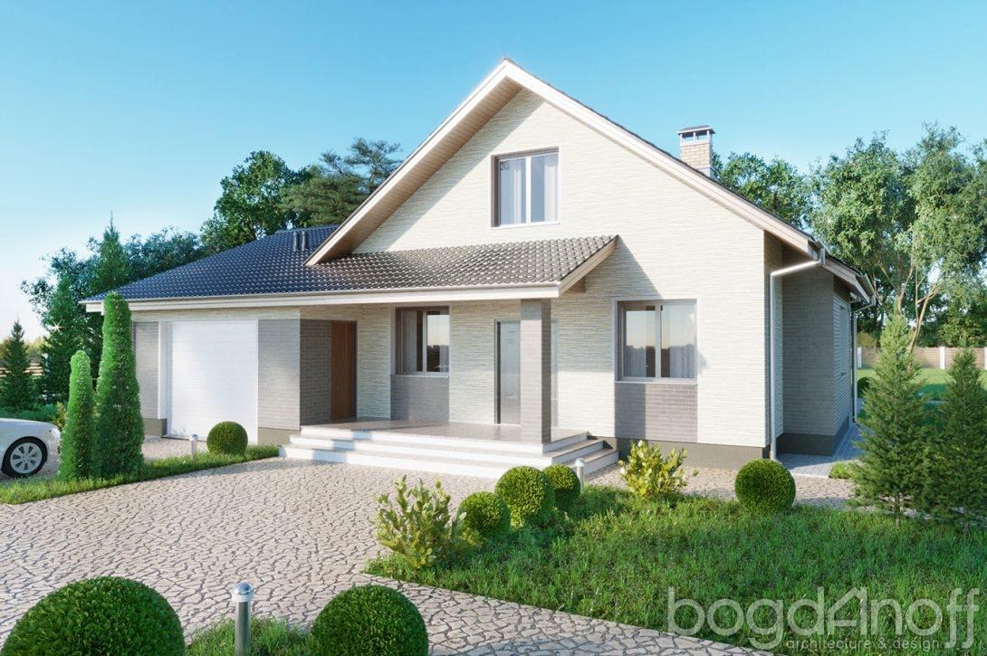 дом с гаражом и крыльцом