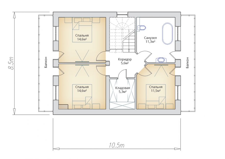 План мансарды жилого дома с двумя балконами
