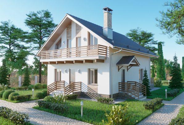 Проект мансардного жилого дома с двумя балконами