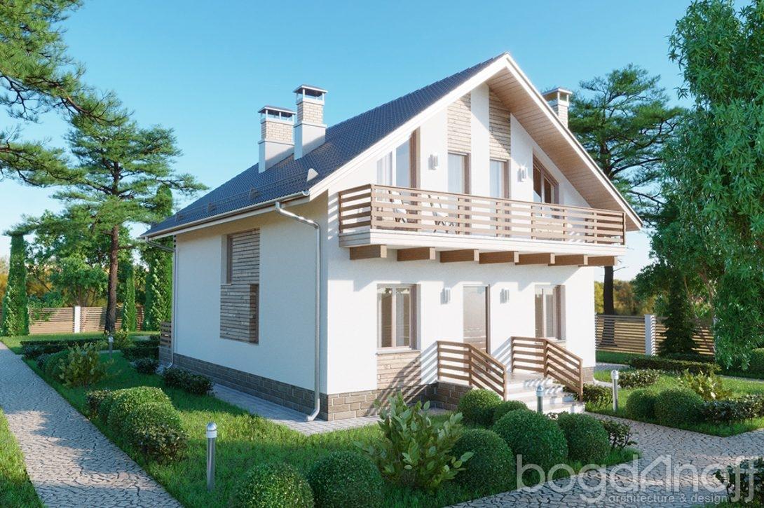Проект мансардного жилого дома с двумя балконами изображение