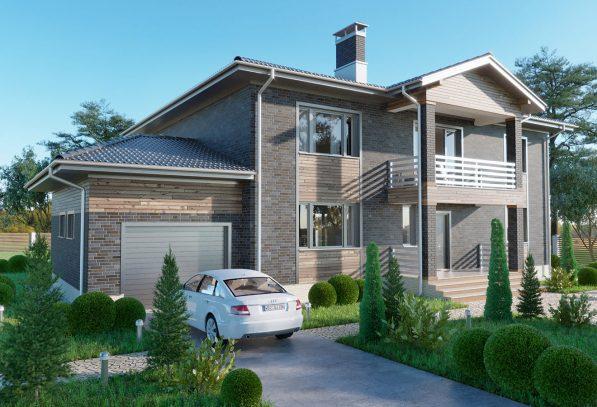 Двухэтажный дом с кирпичем