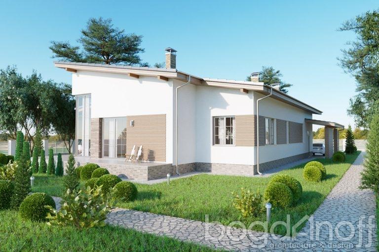 Одноэтажный проект дома с односкатной крышей