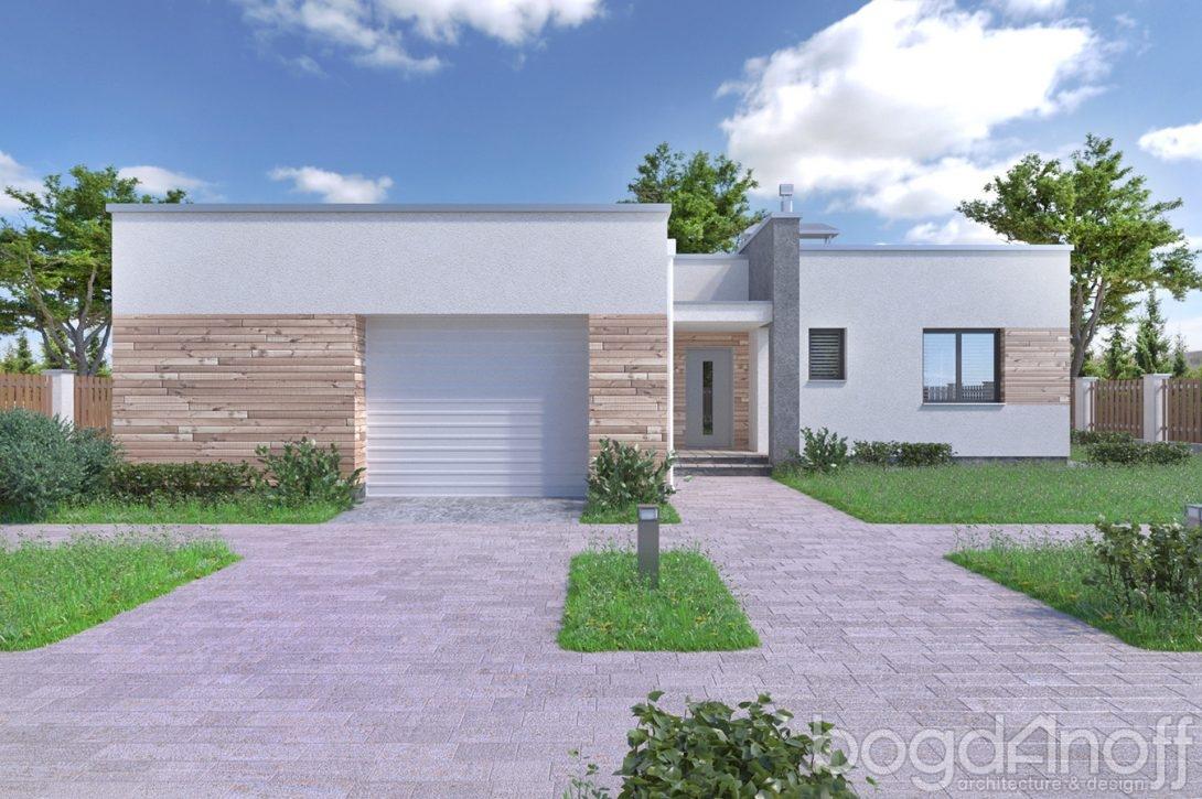 Проект дома с плоской кровлей и гаражом изображение