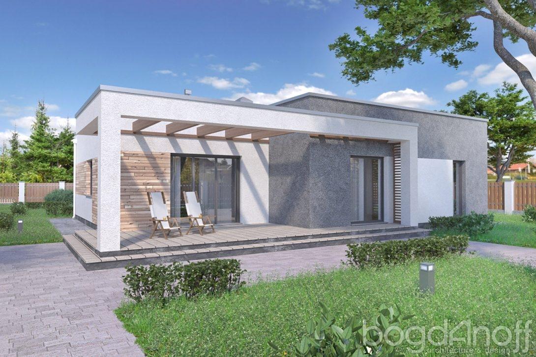 Проект дома с плоской кровлей и гаражом фото