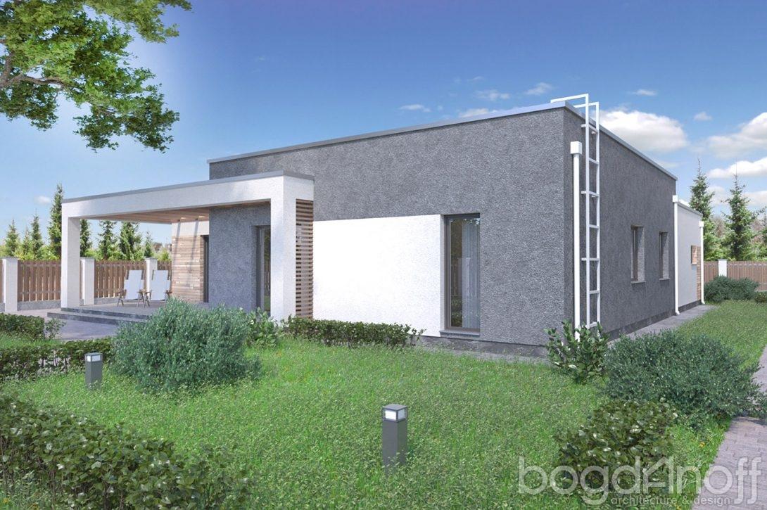Проект дома с плоской кровлей и гаражом