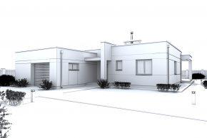 Макет дома с плоской кровлей и гаражом